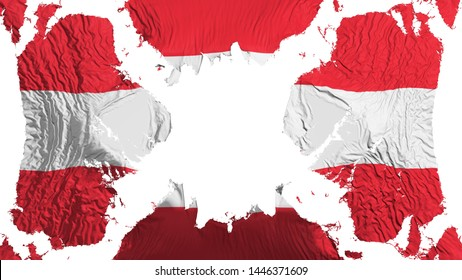 Austria torn flag fluttering in the wind, over white background, 3d rendering