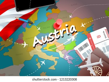 Austria travel concept map background with planes, tickets. Visit Austria travel and tourism destination concept. Austria flag on map. Planes and flights to Austrian holidays to Vienna,Salzburg