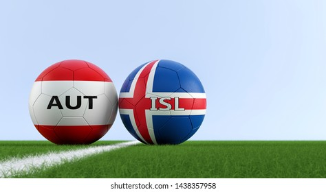Austria vs. Iceland Soccer Match - Soccer balls in Austria and Iceland national colors on a soccer field. Copy space on the right side - 3D Rendering