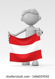 The Austrian athlete who puts up a national flag 3d illustration