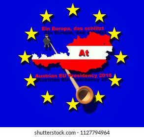 "Austrian EU council 2018 presidency sign 3D illustration 2. Austrian motto ""Ein Europa, das schützt"" in English means ""Europe that protects"". Austrian flag map, Alphorn, EU flag, 3d text. Collection."