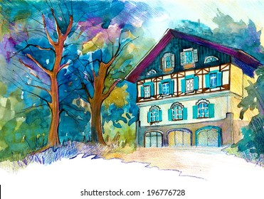 Austrian house in alpine landscape beautiful illustration watercolor painting poster card