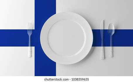 Authentic Cuisine of Finnland. Plate with finnish Flag and Cutlery. 3d illustration.
