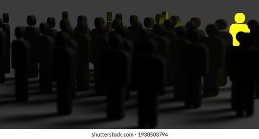 Authentic leadership concept: Many 3d rendered black stick men silhouettes with dropped shadow. Diverse yellow leader standing out. Archive creative ideas. Graphic illustration for office presentation