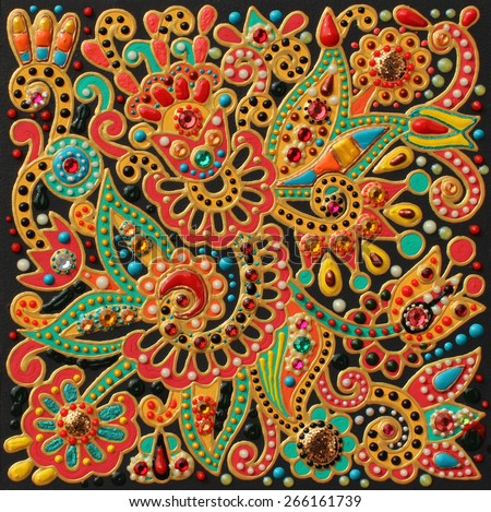 authentic original handmade craftwork painting in ukrainian traditional karakoko style, square floral carpet pattern with jewelry stones