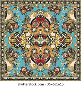 authentic silk neck scarf or kerchief square pattern design in ukrainian style for print on fabric, raster version illustration