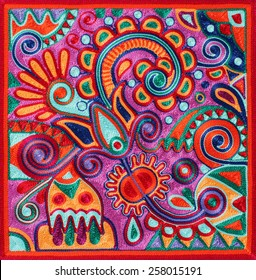 authentic ukrainian yarn painting - ancient and traditional technic of artwork creation, flower design