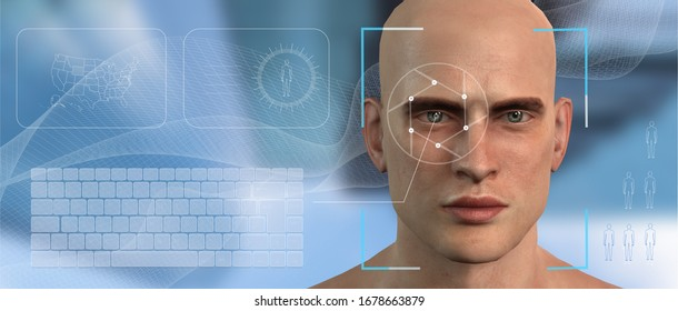 Authentication by facial recognition concept. Biometric man . Security system. The concept of computer vision and artificial intelligence. 3d illustration