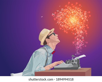 Author typing on typewriter magnificent story