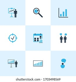 Authority icons colored set with idea discussions, personal presentation, project goals and other seminar elements. Isolated illustration authority icons.