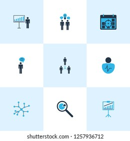 Authority icons colored set with time management, business target, personality traits and other group elements. Isolated  illustration authority icons.