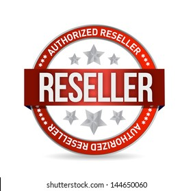 Authorized reseller seal stam illustration design over white