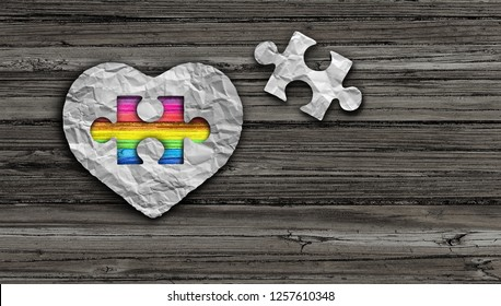 Autism awareness day and asperger syndrome disorder health symbol as a psychology and mental health symbol in a 3D illustration style.