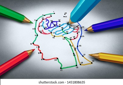 Autism awareness idea and concept of autistic development disorder as a symbol of a communication and psychology research as a connect the dots drawing with 3D illustration elements.