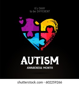 Autism Awareness Month. It's okay to be different. Trend lettering. Multicolored puzzle in the form of heart of brush strokes. Healthcare concept. Illustration on a black background.