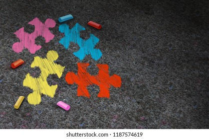 Autism awareness symbol concept and autistic development disorder as a symbol of a communication and social behavior psychology as a puzzle chalk drawing on asphalt in a 3D illustration style.