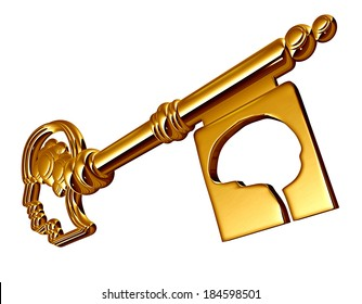 Autism concept as a gold key shaped as a human head and brain for autistic therapy solutions and research in education and special needs learning to unlock the secrets of the neurological disorder, .