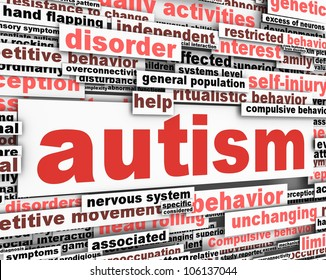 Autism conceptual design. Developmental disability message