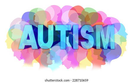 Autism diagnosis and autistic disorder concept or ASD concept as a group of human faces as a color spectrum for mental health issues and medical research or education support and resources.