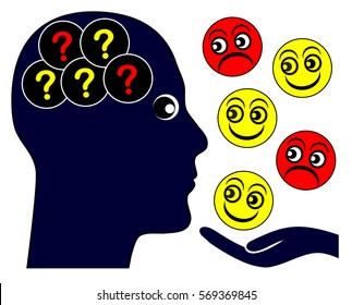 Autism and Emotions. Autistic person with problems to read emotional feelings and empathy