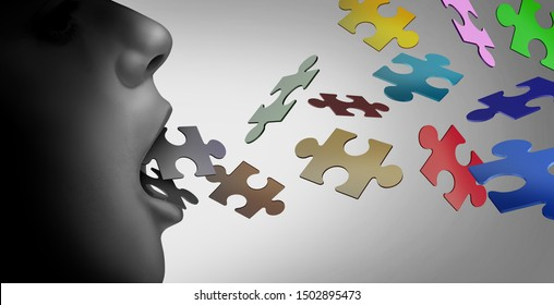 Autism and speech therapy concept or special education for a verbal learning developmental disability with 3D illustration elements.