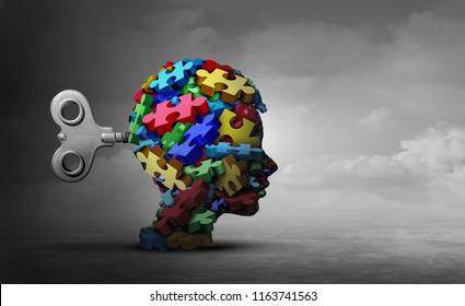 Autism therapy concept as a group of puzzle pieces shaped as a head of a child as an autistic icon for mental disorder idea with 3D illustration elements.