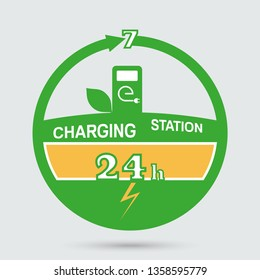 Auto charging station emblem. Round the clock charging station icon. Design can be used as a logo, a poster, advertising, singboard.