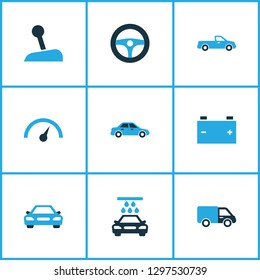Auto icons colored set with chronometer, stick, automobile and other sedan elements. Isolated  illustration auto icons.