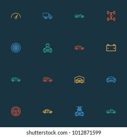 Auto icons line style set with electric car, accumulator, sedan and other carcass elements. Isolated  illustration auto icons.