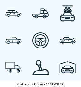 Auto icons line style set with pickup, truck, prime-mover and other stick elements. Isolated  illustration auto icons.