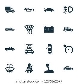 Auto icons set with caution, oil pressure low, pickup and other car elements. Isolated  illustration auto icons.