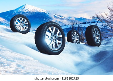 Auto industry, service and maintenance repair business technology automotive concept: 3D render illustration of the set of SUV car wheels with offroad winter tyres on snow in nature outdoor landscape