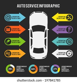 Auto mechanic car service infographic template with charts and maintenance elements  illustration