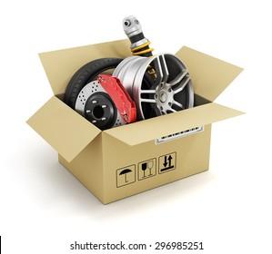Auto parts in the cardboard box. Automotive basket shop. Auto parts store.