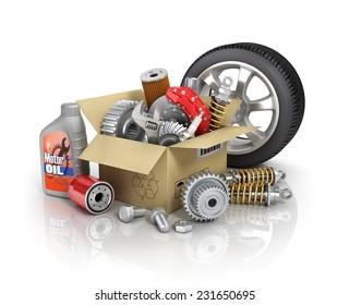 Auto parts in the card-box. Automotive basket shop. Auto parts store.