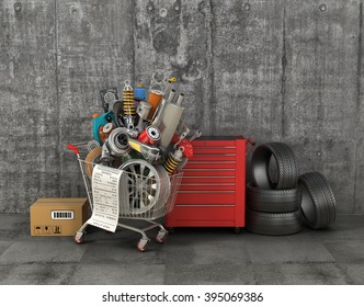 Auto parts with shopping trolley in garage. Automotive basket shop. Auto parts store.