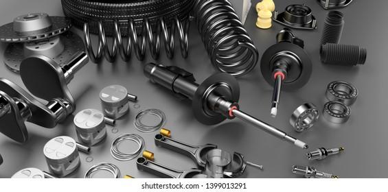 Autoteile Ersatzteile Auto auf grauem Hintergrund. Mit vielen neuen Artikeln für Shop oder Nachmarkt. Autoteile für Auto. 3D-Rendering