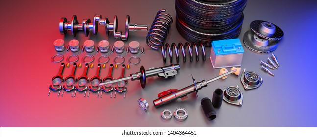 Autoteile Ersatzteile Auto auf grauem Hintergrund. Mit vielen neuen Artikeln für Shop oder Nachmarkt. Autoteile für Auto. 3D-Rendering-Panorama