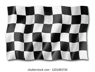 Auto racing finish checkered flag, three dimensional render,  isolated on white