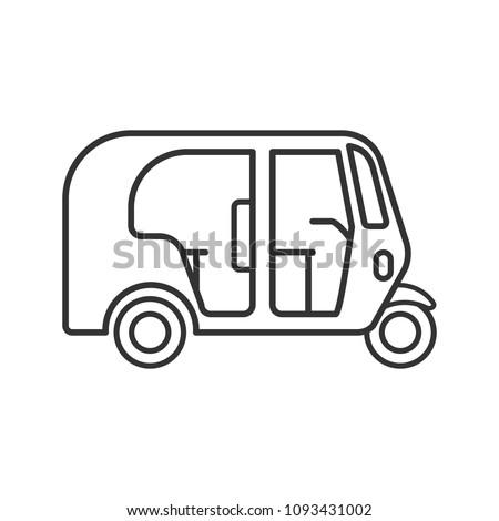 Auto Rickshaw Linear Icon Thin Line Stock Illustration Royalty