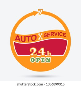 Auto service emblem. Station of maintenance icon. Round the clock car repairs.Design can be used as a logo, a poster, advertising, singboard.