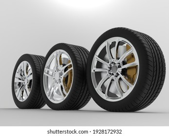 auto wheels on a light background. 3d render