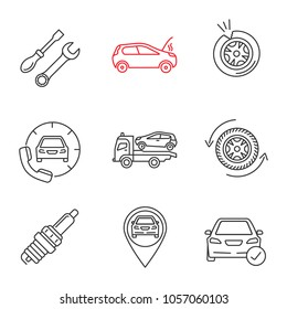 Auto workshop linear icons set. Repair service, broken car, tire puncture, assistance, tow truck, wheel, spark plug, gps, total check. Thin line contour symbols. Isolated raster outline illustrations