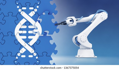 Automated Genetic Engineering. Robotic arm assembling a wall of jigsaw puzzle with a pictogram of DNA molecule pictured on it. 3D rendering graphics on the subject of 'Modern Biotechnology'.