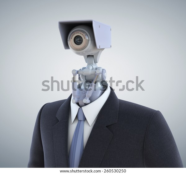 Automated surveillance camera. Clipping path included