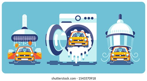 Automatic car wash line on the example of household appliances for cleaning and care. Cleaning, washing and drying.