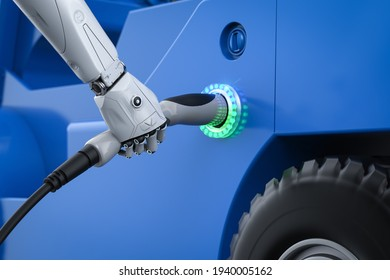 Automatic electric recharge station concept with 3d rendering robot hand hold EV charger