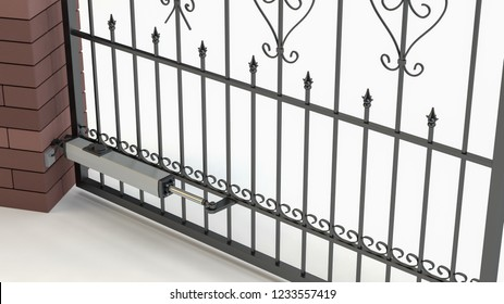 Automatic opening gate - white background, 3D illustration