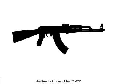 automatic rifle Kalashnikov AK 47. raster illustration