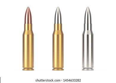 Automatic Rifles 7.62 mm Caliber Metal Bullet on a white background. 3d Rendering